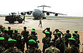Rwandan soldiers form up after a U.S. Air Force C-17 Globemaster III aircraft drops them off at Bangui M'Poko International Airport in the Central African Republic Jan. 19, 2014 140119-F-RN211-725.jpg