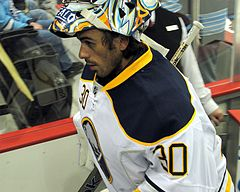 Ryan Miller heads off the ice 2011-10-15.JPG