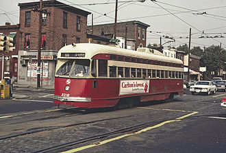 SEPTA Route 56 - The Route 56 Trolley crosses 6th Street in 1980