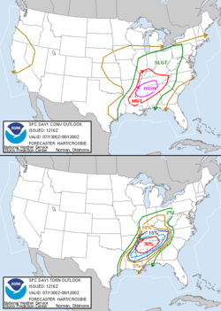 Probabilistic maps issued by the Storm Prediction Center during the heart of the April 6-8, 2006 Tornado Outbreak. The top map indicates the risk of general severe weather (including large hail, damaging winds, and tornadoes), while the bottom map specifically shows the percent risk of a tornado forming within 25 miles (40 km) of any point within the enclosed area. The hashed area on the bottom map indicates a 10% or greater risk of an F2 or stronger tornado forming within 25 miles (40 km) of a point.