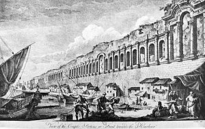 Dalmatia - An engraving of the seaward walls of the city of Split by Robert Adam, 1764. The walls were originally built for the Roman Diocletian's Palace.
