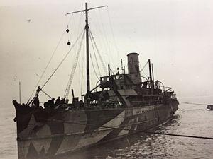 SS Peel Castle - Peel Castle in her wartime service as an (ABV) Armoured Boarding Vessel.