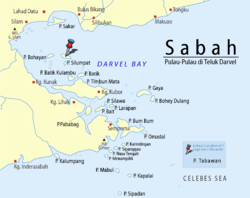 Location of Tabawan Island in Darvel Bay