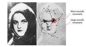 Fixation (visual) - This image shows the tracking of eye movement during the viewing of a facial image. The lines display the saccadic and microsaccadic movement of the eye while looking at this face. The involuntary, micro-saccadic movement is not steady when the person's eyes are concentrated at the eyes of the woman, while the voluntary, saccadic movement goes around the periphery of the face once at any give point.