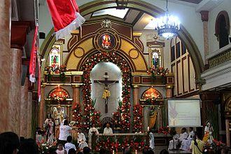 Santa Mesa - Main sanctuary and altar of the Parish of the Sacred Heart of Jesus, Santa Mesa, Manila.