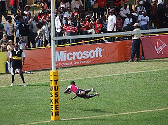 Safari Sevens - A Bristol University Select player scores a try at the 2008 Safari Sevens, at the RFUEA Ground