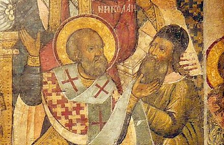 Detail of a late medieval Greek Orthodox icon showing Saint Nicholas slapping Arius at the First Council of Nicaea, a famous incident whose historicity is disputed Saint Nicholas of Myra slapping Arius at the Council of Nicaea Greek Icon.jpg