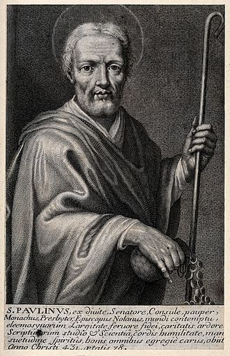 Paulinus of Nola - Line engraving of Saint Paulinus of Nola