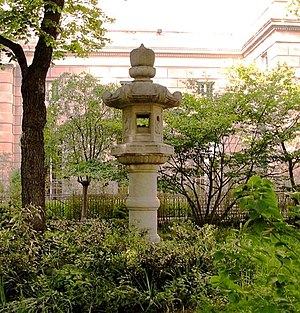 Sakura Park - The tōrō given to the City of New York by the City of Tokyo, with the International House of New York in the background