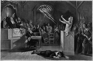 Fanciful representation of the Salem witch trials, lithograph from ...