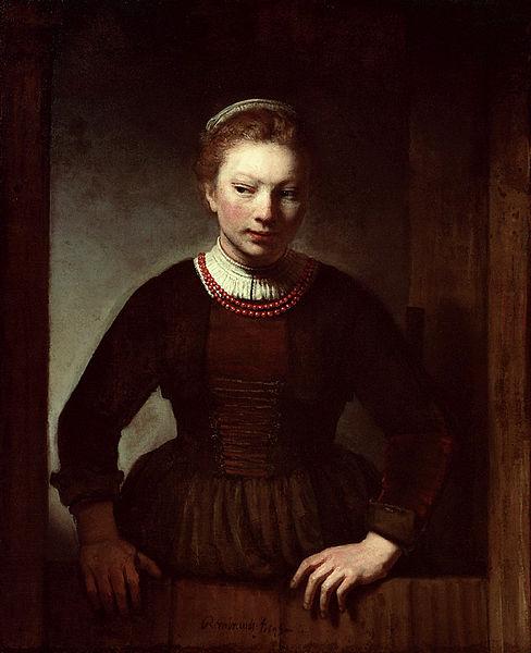 Samuel van Hoogstraten, Vrouw bij een half open deur