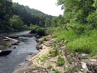 Locust Fork of the Black Warrior River - The sandstone shelf riverscour has rare plant species