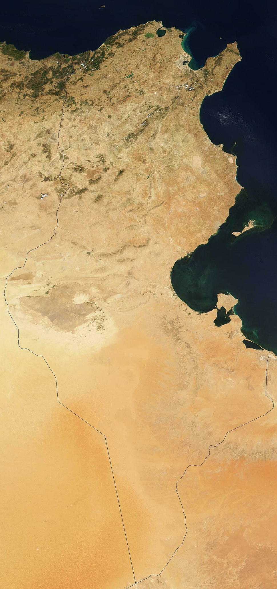 Satellite image of Tunisia in August 2001