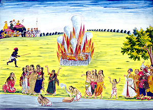 Violence against women - Sati (a Hindu practice whereby a widow immolates herself on the funeral pyre of her husband) ceremony.