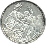 Helvetia seated, holding wreath. Boy holding an apple shot through by arrow, to right of Helvetia.