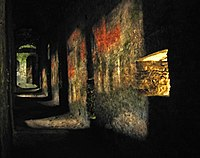 Ancient pinhole camera effect caused by balistrarias in the Castelgrande in Bellinzona