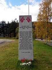 Second World War memorial stone Rognan 2013