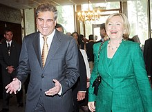 Hilliary Clinton with Shah Mehmood Qureshi, the foreign minister of Pakistan.