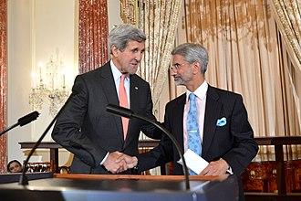 Subrahmanyam Jaishankar - A 2014 photo of Jaishankar with U.S. Secretary of State John Kerry in Washington DC.