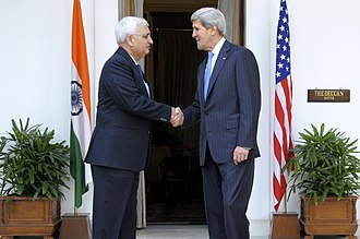 Salman Khurshid - Khursid with John Kerry, Secretary of State, United States in 2013, during his term as the External affairs minister