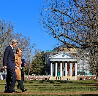 University of Virginia - President Sullivan speaks with U.S. Secretary of State John Kerry in front of The Rotunda in 2013