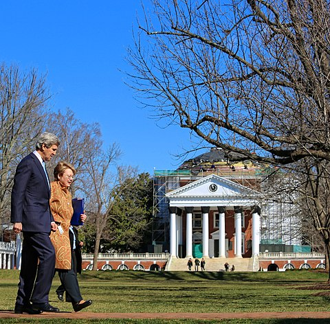 President Sullivan speaks with U.S. Secretary of State John Kerry in front of The Rotunda in 2013 Secretary Kerry Walks With UVA President Sullivan.jpg