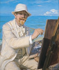 Self-Portrait, Sitting by His Easel at Skagen Beach