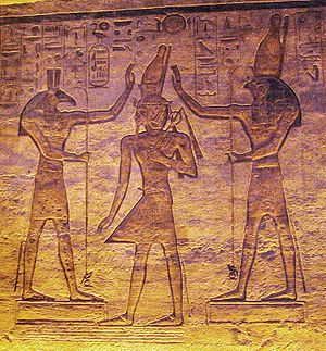 Set (deity) - Set and Horus adore Ramesses in the small temple at Abu Simbel.
