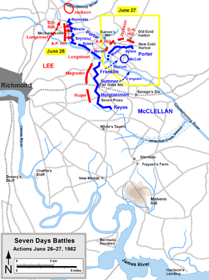 Map of the Seven Days Battles of the American ...