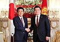 Shinzo Abe and Sooronbay Jeenbekov at the Enthronement of Naruhito (1).jpg