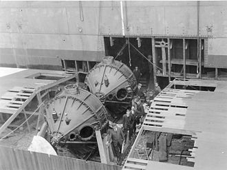 Stabilizer (ship) - Two 25-ton roll-stabilizing gyroscopes being installed on the transport USS Henderson during construction in 1917, the first large ship to use gyroscopic stabilization