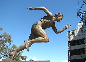 Athletics at the 1950 British Empire Games - Shirley Strickland (statue above) won a hurdles gold medal, two relay golds and two sprint silvers for Australia.