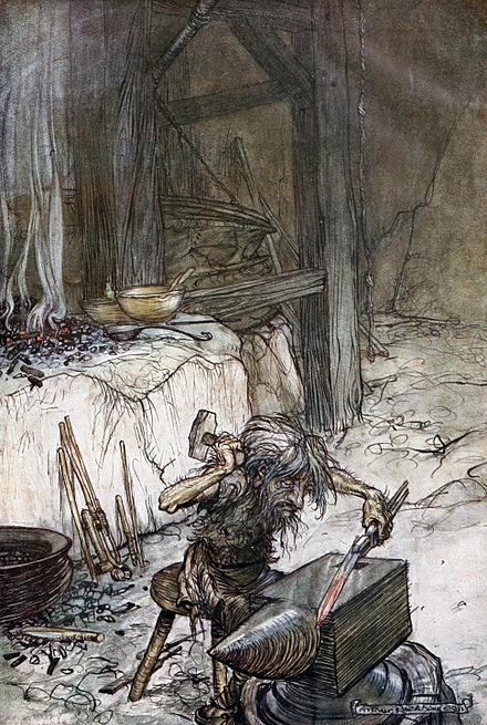 Mime at the anvil by Arthur Rackham Siegfried and the Twilight of the Gods p 004.jpg