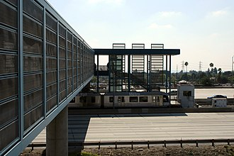 Sierra Madre Villa station - The view of the station from the entrance bridge that connects the parking building and the train platform.