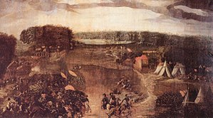 The battle of Sievershausen as an oil painting around 1600