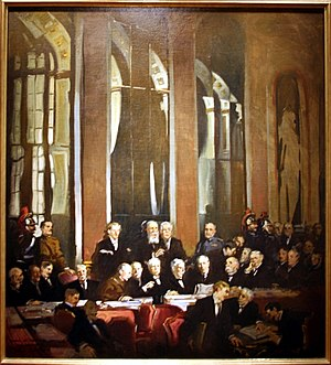Tasker H. Bliss - The delegation of the United States (centered: John J. Pershing, General Tasker H. Bliss, President Woodrow Wilson, Edward Mandell House, Henry White, Robert Lansing) signing the Treaty of Versailles in 1919. – National Portrait Gallery, Washington, DC, Smithsonian Institution, NPG.65.83, oil on canvas from John Christen Johansen.
