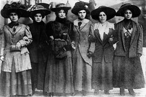 Mary Dreier - Six women including Mary Dreier, Ida Rauh, Helen Marot, Rena Borky, Yetta Raff, and Mary Effers link arms as they march to City Hall on December 3, 1909 during the New York shirtwaist strike to demand an end to abuse by police.