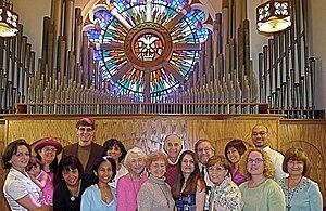 Saint Joseph Parish (Mountain View, California) - Choir Loft: great pipes, stained glass, and choir in 2009