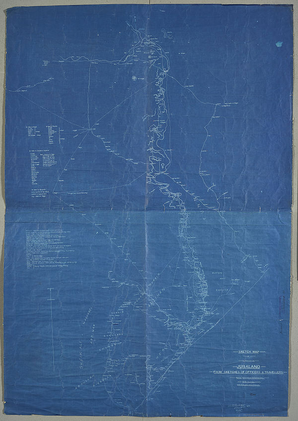 600px sketch map of a portion of jubaland from sketches of officers and travellers. %28womat afr bea 91%29