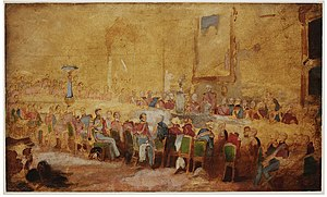 William Salter (artist) - 1836 Oil sketch of The Waterloo Banquet 1836 by Salter