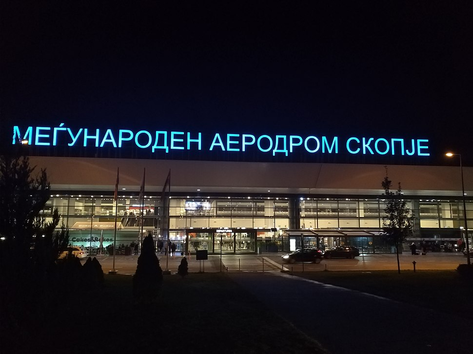 Skopje Airport - View of the main entrance by night (2018)