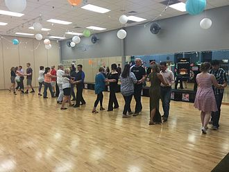 Social dance - A Social Dancing or Ballroom Dancing group class taught at the Arthur Murray Dance Studio in The Woodlands, Texas.
