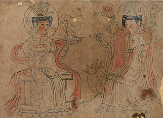 Daena - Sogdian Deities, a 10th-century line drawing from the Mo-kao Caves. The deity on the left is probably a depiction of Daēnā.