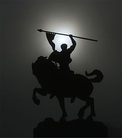 Solar corona above statue of El Cid SF CA.jpg