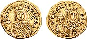 Νόμισμα με την Θεοδώρα από την μία πλευρά και τον Μιχαήλ Γ' με την αδελφή του Θέκλα από την άλλη.