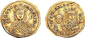 Michael III - This coin struck during the regency of Theodora shows how Michael was less prominent than his mother, who is represented as ruler alone on the obverse, and even less than his sister Thecla, who is depicted together with the young Michael on the reverse of this coin.