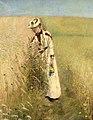 Sommer. Fru Johanne Wilde plukker markblomster. Aalsgaarde.jpg