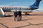 Soyuz MS-10 crew at the airport in Baikonur.jpg