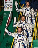Soyuz TMA-11M crew members wave farewell.jpg