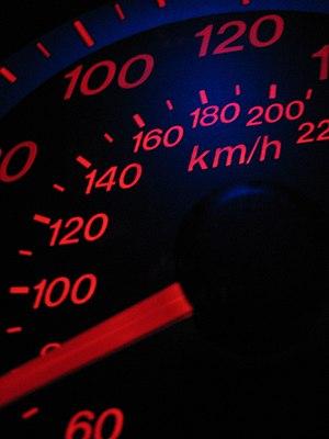 Automobile speedometer, measuring speed in mil...